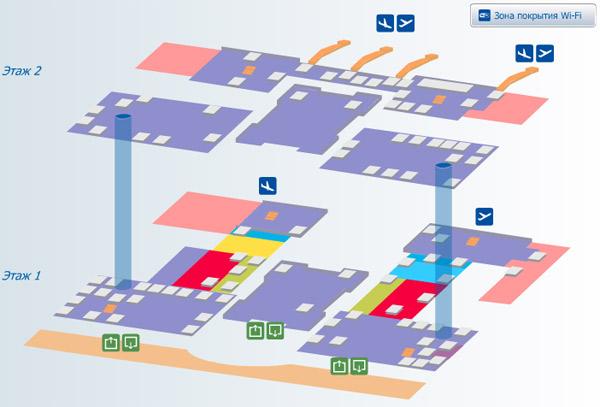 Схема аэропорта Пулково (г. Санкт-Петербург) .